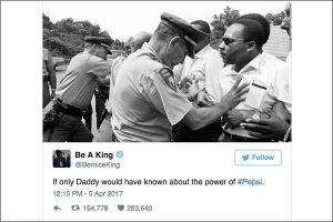 tweet di berenice king sulla campagna live for now di pepsi