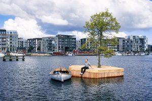 floating islands nel porto di copenhagen, esempio di biophilic design
